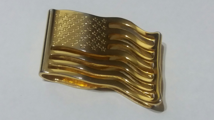 Vintage Goldtone Money Clip or Tie Clasp - USA Stars & Stripes Flag