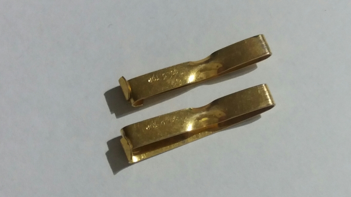 2 Vintage Antique 1910s Gold Top Lingerie Clips Set