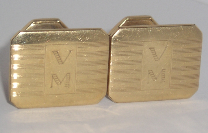 Vintage Antique Pitman Keeler 12K Gold Cufflinks Estate