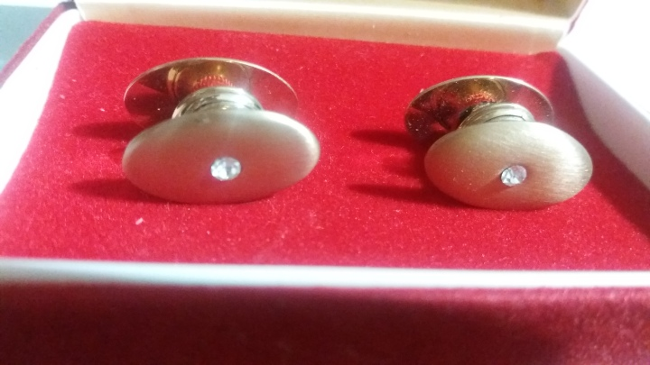 Vintage 1940s SWANK KUM-A-PART Boxed Cufflinks Goldtone with Stone