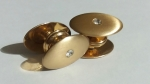 Vintage Cufflinks 1920s SWANK KUM-A-PART Boxed - Goldtone with Stone - Antique