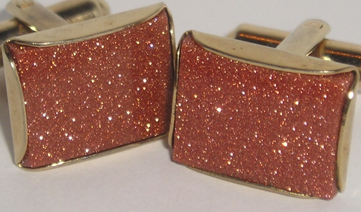 "SOLD: Vintage 1960s Sparkly ""Goldstone"" Cufflinks – Goldtone Shirt Accessory"