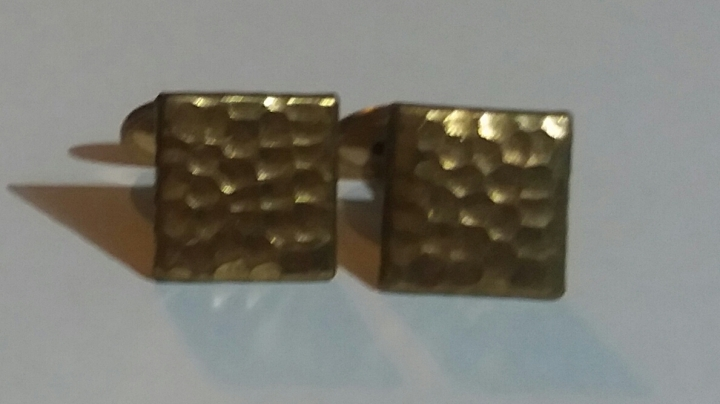Vintage Antique Victorian Edwardian Cufflinks - Goldtone Square Collectable