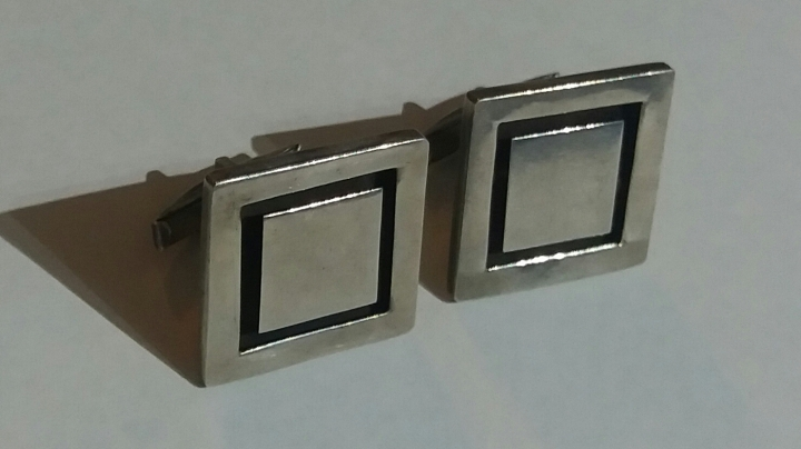 SOLD: Vintage 1950s Hecho en Mexico RKK Large Sterling Silver Cufflinks
