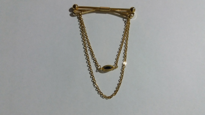 SOLD: Vintage 1960s Collar Bar with Chain – Goldtone with Black Pendant