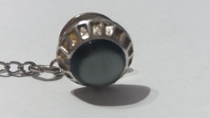 Vintage SWANK Tie Pin Tack - Silvertone & Black Cabachon