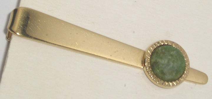 Vintage R&G Co LAMODE Gold-Tone Tie Clasp Bar - Green