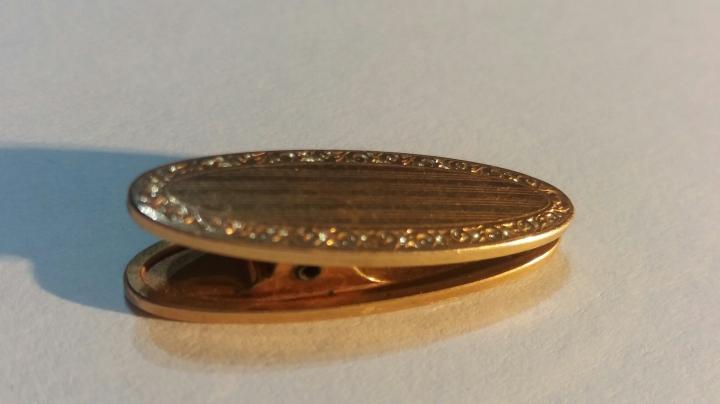 241002 Vintage Cravat Clip Tie Clasp 1930s Art Deco KREMENTZ PLATE Goldtone