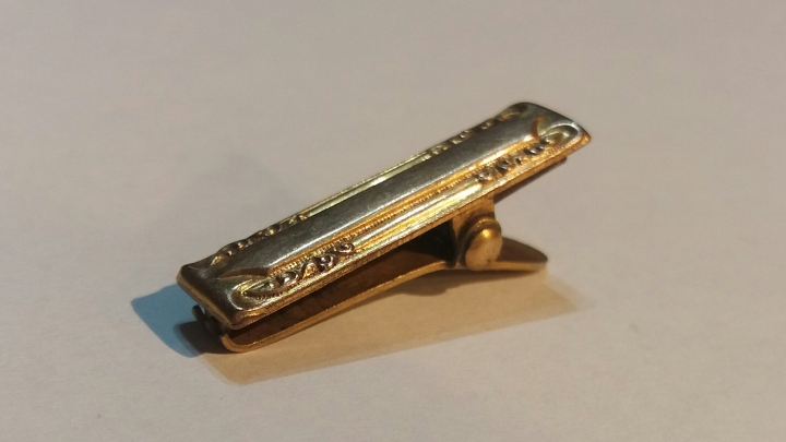Vintage 1920s Art Deco MH&CO (UK) Cravat Clip Tie Clasp - Goldtone Jewelry