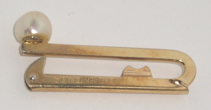 SOLD: Vintage 1940 KREMENTZ Gold-Tone Tie Clasp Clip BarRARE