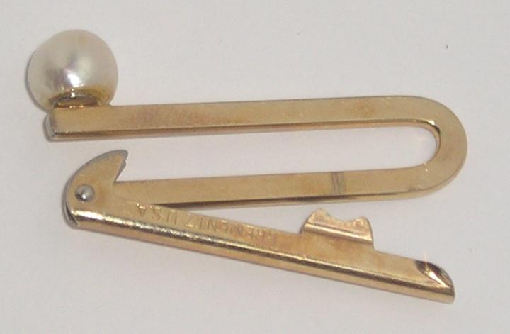 Vintage 1940 KREMENTZ Gold-Tone Tie Clasp Clip Bar RARE