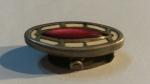249006 Vintage Cravat Clip Tie Clasp 1920s Art Deco Antique Goldtone Red White