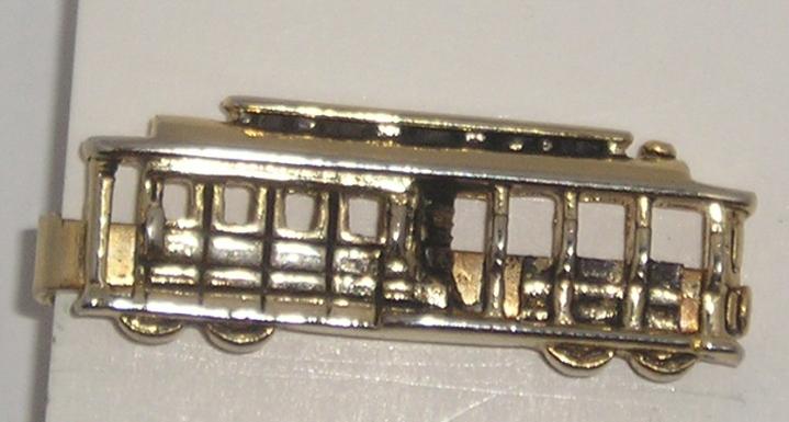 SOLD: Vintage 1950s Tie Clasp Bar – Tram / Streetcar –Goldtone
