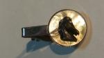 229010 Vintage Horse Equestrian Cameo Silvertone MOP Tie Clasp Clip Bar