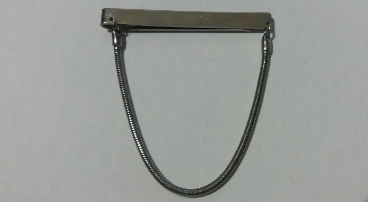 SOLD: Vintage 1940s Silvertone Tie Clasp Clip bar with Snake Chain