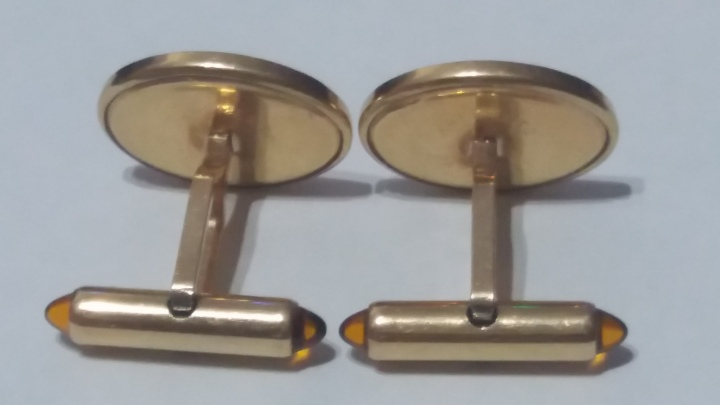Vintage Cufflinks 1960s KREMENTZ Goldtone - Decorative Front - Amber Stones