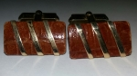 Vintage Cufflinks 1940s SWANK – Goldtone & Brown Alligator Skin