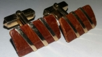 213049 - Vintage Cufflinks 1940s SWANK Goldtone & Brown Leather