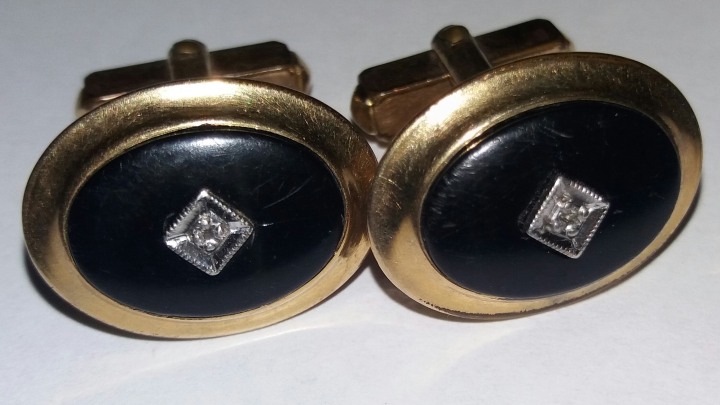 SOLD: Vintage Cufflinks 1950s ANSON 1/20 12K Gold Filled – Black with Silvertone Stone
