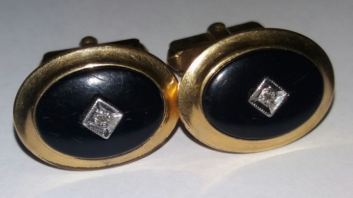Vintage Cufflinks 1950s ANSON 1/20 12K Gold Filled - Black with Silvertone Stone