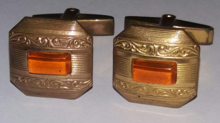 Vintage 1920s Art Deco Cufflinks – Goldtone & Amber – Antique