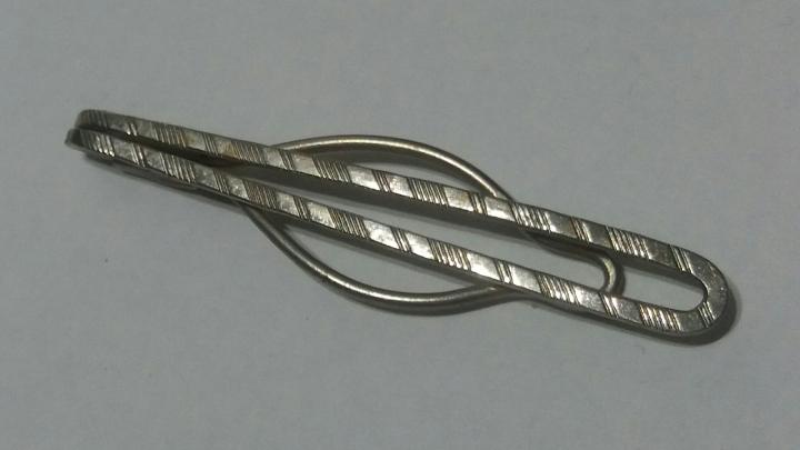 Vintage 1930s Slide-On Tie Clasp Clip Bar - Silvertone