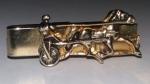 229051 Vintage Tie Clasp 1940s Equestrian Horse Racing Buggy Goldtone Tie Clip Bar