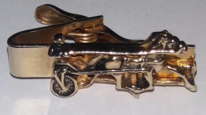Vintage 1940s Tie Clasp Clip Bar - Goldtone Horse Equestrian