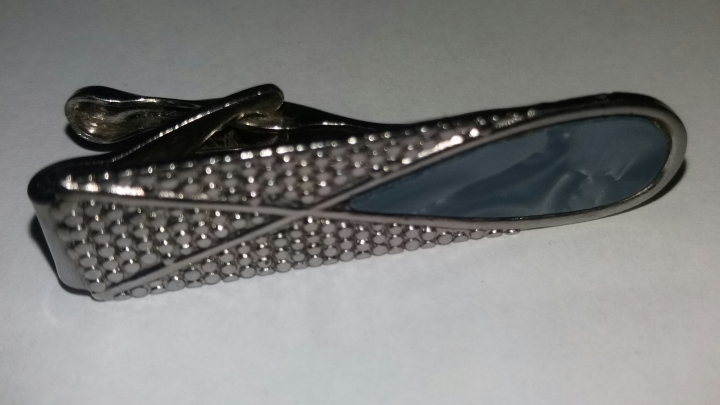Vintage 1960s Tie Clasp Clip Bar - Silvertone Blue Mother-Of-Pearl
