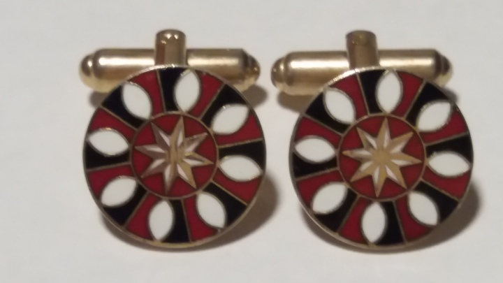 Vintage Cufflinks 1950s, Roulette, Casino, Red Black White