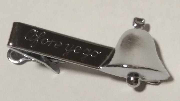 Vintage Tie Clasp, 1950s - Silvertone, Bell, Afore Ye Go, Bell's Whisky