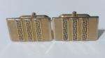 213080 Vintage Cufflinks 1950s SWANK Goldtone AZTEC Inspired Pattern