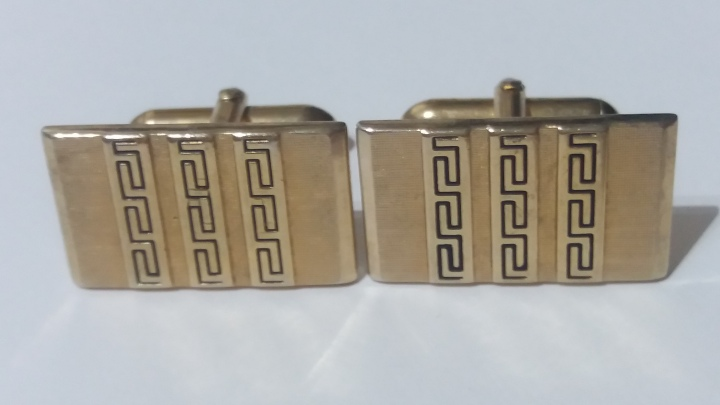 213080-1 Vintage Cufflinks 1950s SWANK - Goldtone AZTEC Inspired Pattern