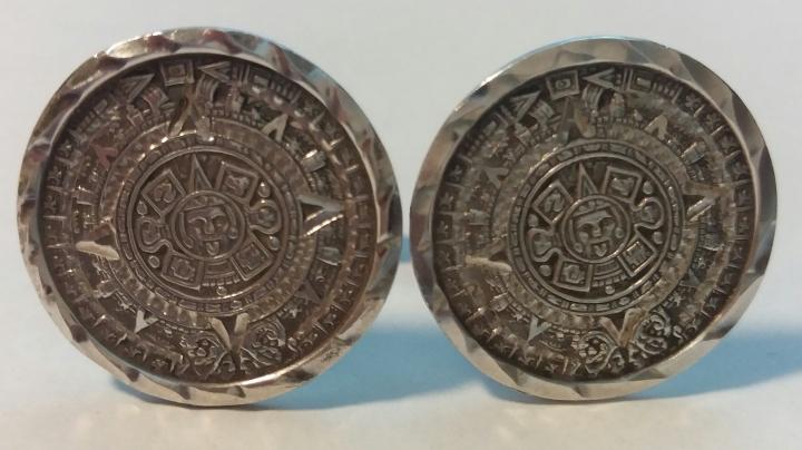 Vintage Cufflinks 1950s Hecho en Mexico Sterling 925 Mayan Calendar Bernice Goodspeed