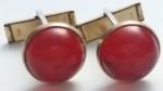 Vintage Cufflinks 1930s Art Deco Red