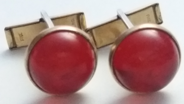 Vintage Cufflinks 1940s Red Polymer Cabochon Stone in Goldtone Bezel Setting