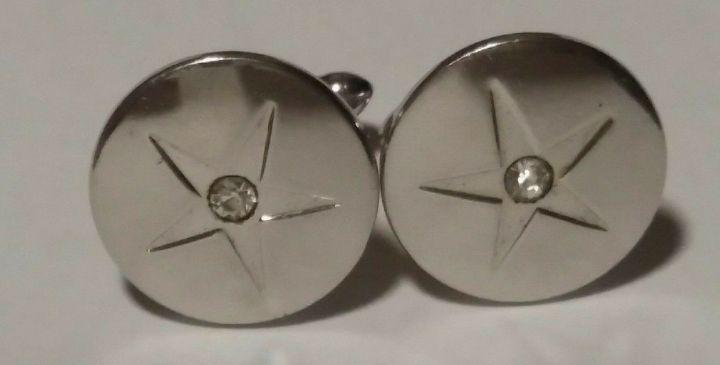 213093-1 Vintage Cufflinks SWANK 1950s - Silvertone Round Star Diamante