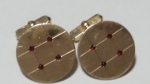 213095 Vintage Cufflinks 1940s SWANK 12K GF Red Stone Large