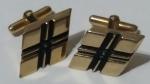 Vintage Cufflinks 1960s Goldtone Black Geometric Hashtag