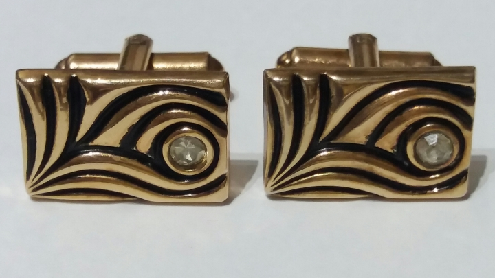 219054 Vintage Cufflinks 1960s Goldtone Black Diamante Abstract Picasso-Style