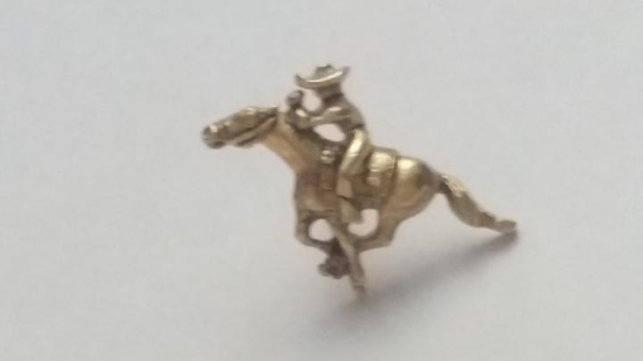 239146 Vintage Tie Pin 1940s Horse Racing Cowboy Equestrian Tie Tack