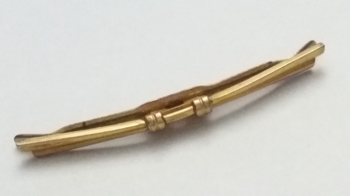269150 Vintage Collar Bar BALLOU 1900s Antique Goldtone Decorative Front