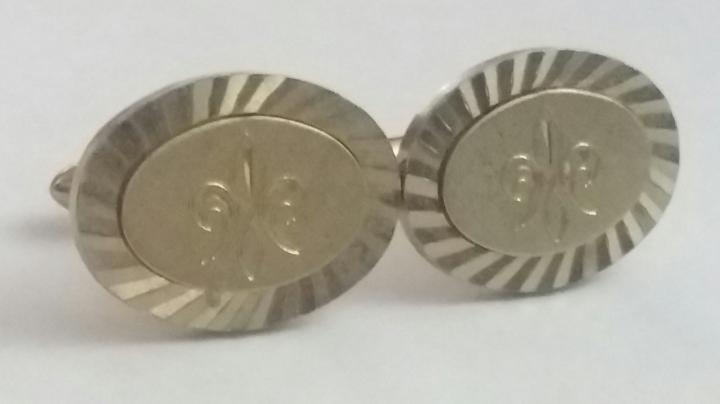 213078 Vintage Cufflinks 1950s SWANK Fleur de Lis Goldtone
