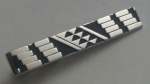 223166 Vintage Tie Clasp 1970s SWANK Geometric Black Silvertone Tie Clip Bar