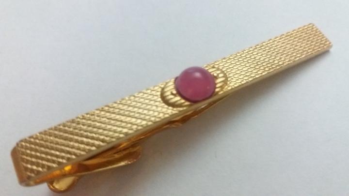 229169 Vintage Tie Clasp 1980s Detailed Goldtone Handsome Tie Clip Bar