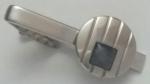229171 Vintage Tie Clasp 1950s Silvertone Tie Bar Clip with Grey Gray Polymer Accent