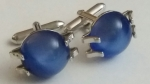 213194 Vintage Cufflinks 1950s SWANK Blue Dome in Silvertone Claw Setting Cuff Links