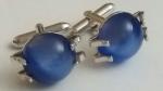 213194 Vintage Cufflinks 1950s SWANK Blue Dome in Silvertone Claw Setting Cuff Links