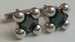 213195 Vintage Cufflinks 1940s SWANK Grey Facet-Cut in Silvertone Setting Cuff Links