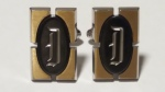 216097 Vintage Cufflinks 1950s HICKOK USA Initial D Black Gold Silver Monogram